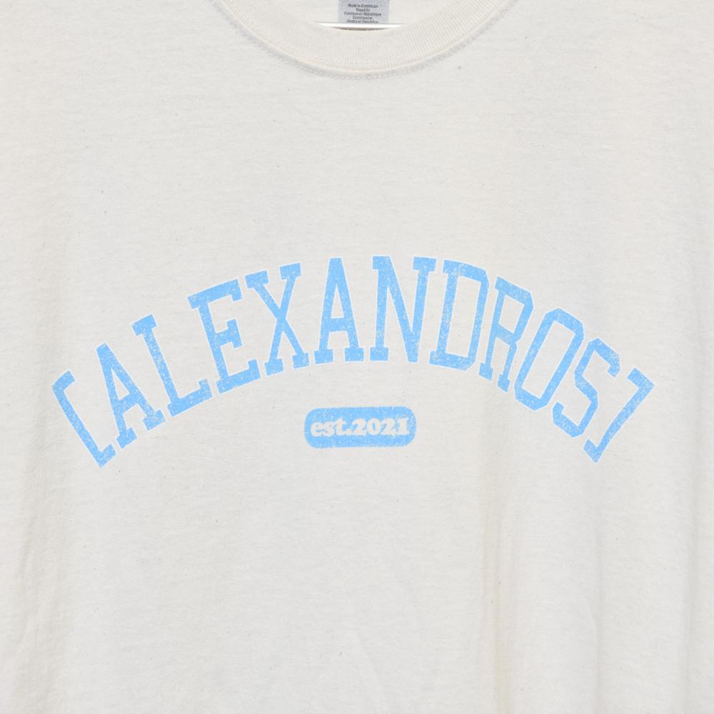 Vintage Style T-Shirt(Natural×Blue)